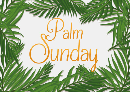 Palm branches surrounding golden Palm Sunday text on white background. Illustration
