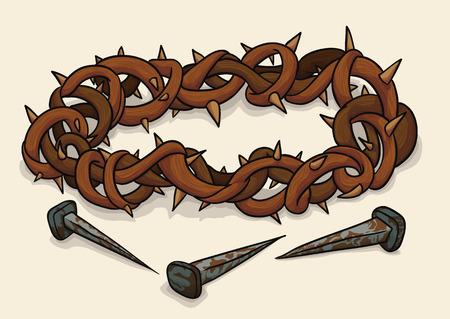 Kroon van doornen en drie roestige spijkers, symbolen van de kruisiging van Jezus in Goede Vrijdag.