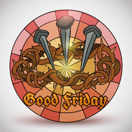the gospels: Special button with a crown of thorns and nails in stained glass style for Good Friday commemoration.