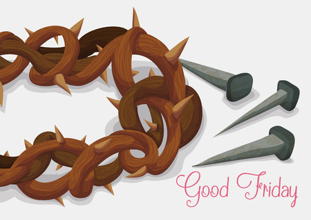 Good Friday commemorated with crown of thorns and old rusty nails in white background.