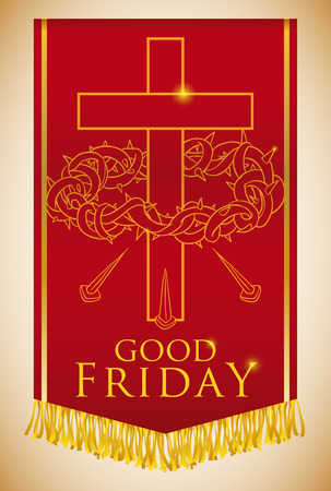 the gospels: Banner with crucifixion of Jesus symbols: crown of spikes, cross and nails for Good Friday procession.