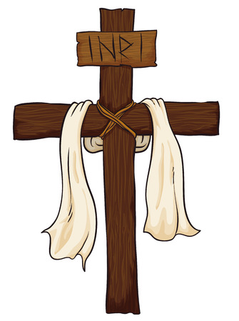 Holy Cross with a fabric around it and a sign with INRI text in white background.