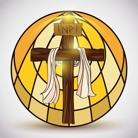 the gospels: Holy Cross with a sign and fabric in stained glass style in shiny rounded button. Illustration
