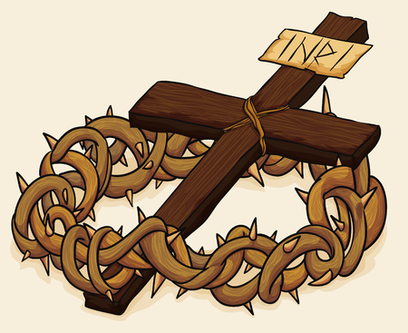 Wooden Holy Cross with a crown of thorns for Good Friday in beige background. Illustration