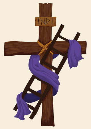the gospels: Wooden ladder used for Descent from the Holy Cross with purple fabric around it for Easter.