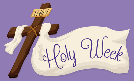holy week: Wooden Holy Cross with a white fabric and a Holy Week message in purple background.