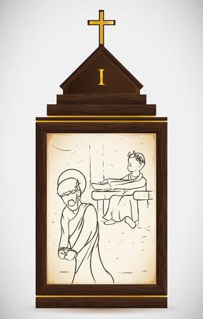 gospels: Via Crucis, station one: Jesus is judged by Pilatos.