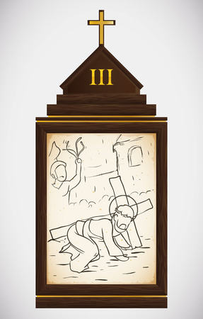 the gospels: Via Crucis, station three: Jesus falls exhausted and a soldier whips him. Illustration