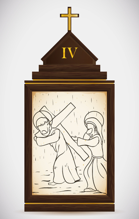 lent: Via Crucis, station four: Jesus meets his mother and she calm him.