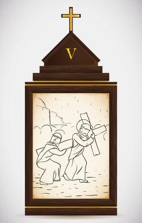 the gospels: Via Crucis, station five: Simon of Cyrene help Jesus to carry his heavy cross. Illustration
