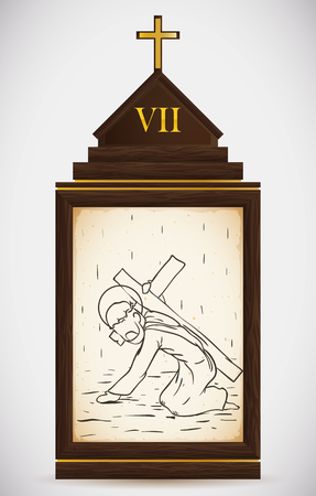 the gospels: Via Crucis, station seven: Jesus falls again exhausted.