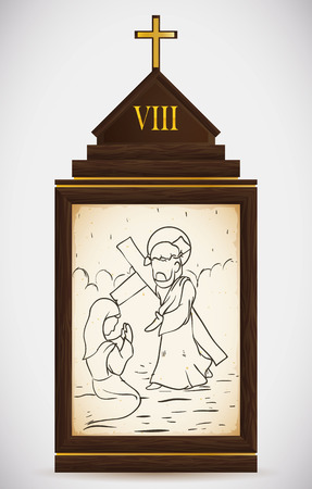 gospels: Via Crucis, station eight: Jesus comforts the Jerusalem women.