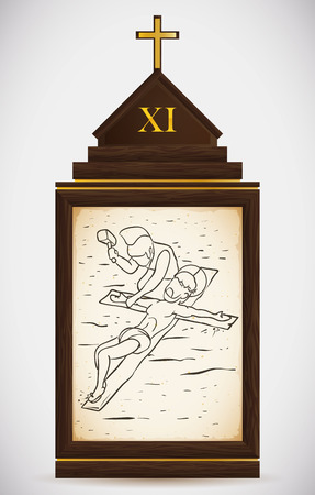 the gospels: Via Crucis, station eleven: the sentence of Pilatos is carried out, Jesus is nailed to the cross.