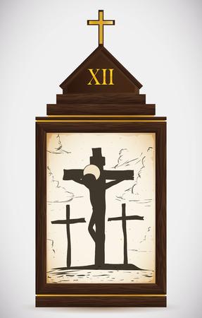 the gospels: Via Crucis, station twelve: Jesus dies on the cross between two convicted thieves. Illustration