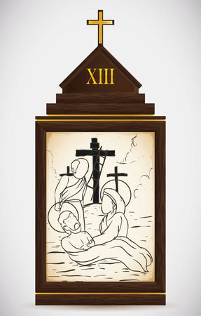 stigmata: Via Crucis, station thirteen: Jesus is carried down of the cross and his mother cries for his death.