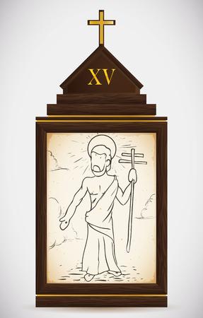 gospels: Via Crucis, station fifteen: Jesus resurrect and walks ascending into heaven.