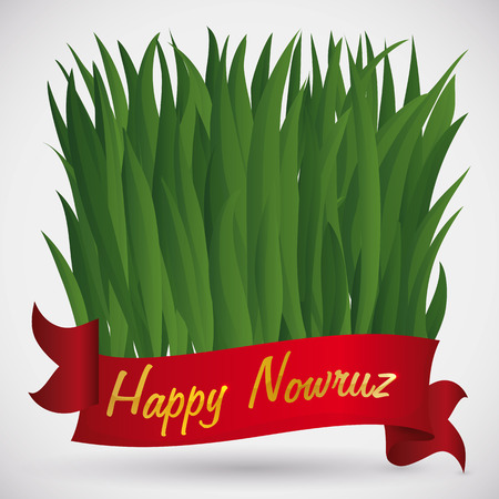 Freshly wheat grass leaves behind a red ribbon (or Sabzeh in Haft Seen tradition) with golden greeting text, growing for Nowruz (Persian New Year) tradition.