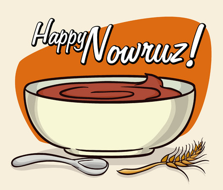 Sweet and delicious bowl with samanu dessert of germinated wheat  for Nowruz.
