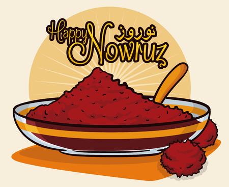 Sumac spice powder in a translucent bowl and spoon with dried fruits like symbols for sunrise in Persian New Year or Nowruz tradition.
