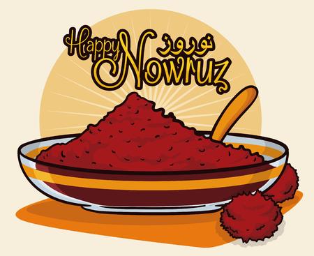 """Sumac poudre d'épice dans un bol translucide et une cuillère avec des fruits secs comme des symboles pour le lever du soleil en Nouvel An persan ou la tradition """"Nowruz""""."""