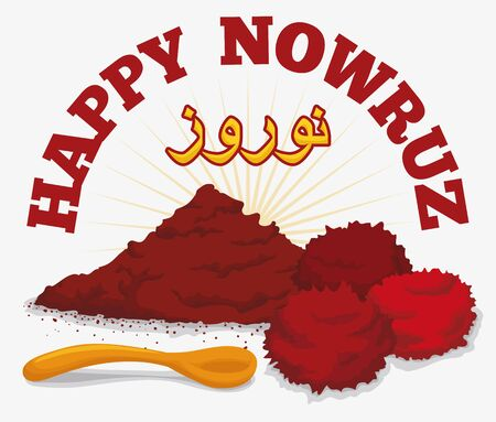 Dried sumac and fruits symbolizing the sunrise in the persian tradition of Haft Sin in Nowruz (Persian New Year) holiday. Illustration