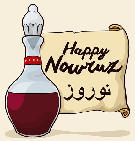 """paciencia: El vinagre (o """"Serkeh"""" en Persa Haft Sin tradición) en la vinagrera de cristal como símbolo de paciencia para Nowruz (año nuevo). Vectores"""