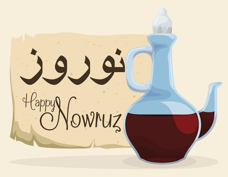 cruet: Stylized glass cruet with vinegar and ancient scroll with greeting message for Nowruz celebration.