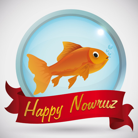 Beauty goldfish in round glossy button like a fish bowl behind a red greeting ribbon  with golden text greeting for Nowruz.