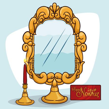Joyeux Norouz (Nouvel An persan) avec miroir d'or avec stand et des bougies allumées symbolisant l'honnêteté, la propreté, l'illumination et le lever du soleil.