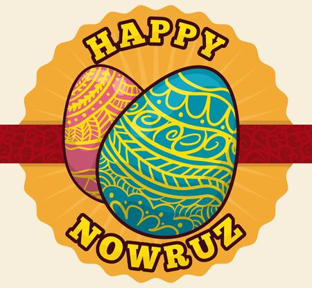 tabletop: Beauty colorful painted eggs in cartoon style to play and decorate tabletop in Nowruz holidays.