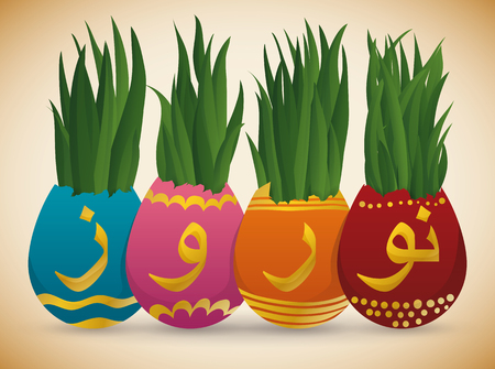 golden egg: Wheat grass (or Sabzeh) growing inside in colorful handmade painted eggs in for Nowruz (Persian New Year).