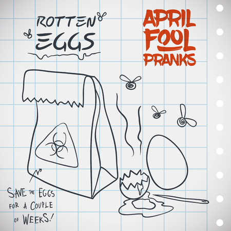 prank: Smelly bag with stinky eggs ready for a stinky prank in April Fools Day. Illustration