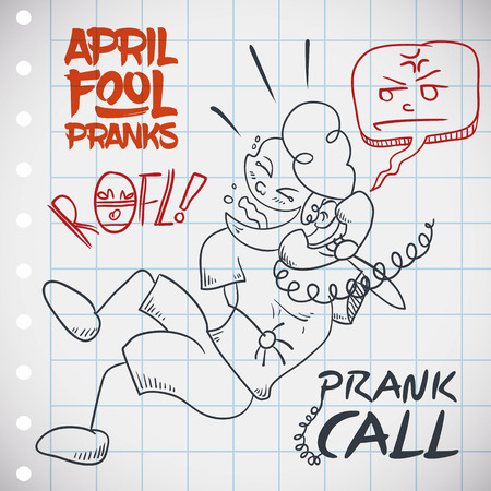 prank: Funny  man laughing in the roof while he does a prank call to a friend in April Fools Day.