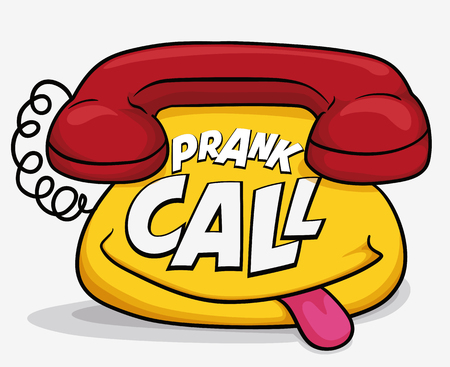 prank: Funny phone with mischievous smile remembering you that is time to prank calls in April Fools Day. Illustration