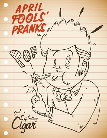 prank: Man Surprised for Exploding Cigar Prank in retro poster for April Fools Day.