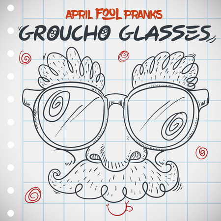 Groucho glasses draw in doodle style in a notebook, remembering April Fools Day.