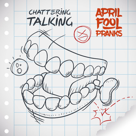 pranks: Hilarious chattering talking teeth toy ready for pranks in April Fools Day draw in doodle style in a notebook paper.