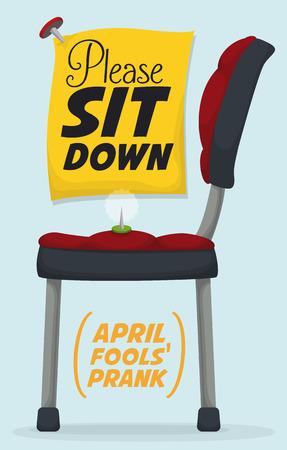 Pin en stoel grap in een teken ter herdenking van April Fools 'feest.