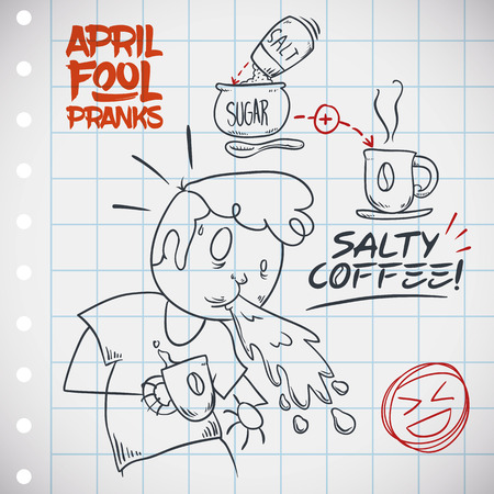 April Fools' Day prank of salt coffee planned in a squared paper with man being pranked in doodle style.