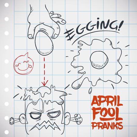 prank: Mischievous prank of throwing eggs to people in April Fools Day.