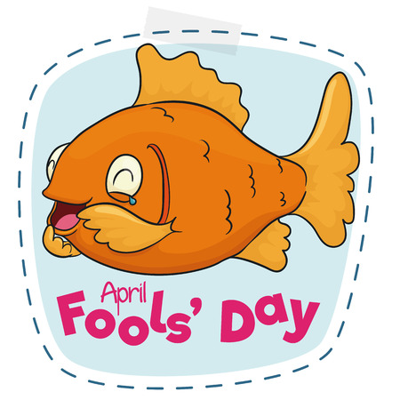 humorous: Fish laughing up to tears for April Fools Day, ready to cut and play the game. Illustration