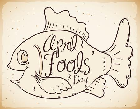 Cartel lindo de la broma de los peces de los inocentes en estilo retro. Ilustración de vector