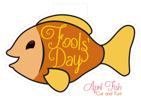 prank: Tender April Fools fish ready to cut it for classic joke of put it in the back of friends.