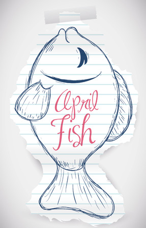 prank: Tear rip paper with a sweet fish draw for April Fools prank. Illustration