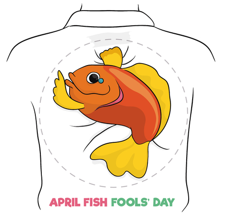 Fish design for April Fools Day holiday to print, cut it and put in the back of your friends. Illustration