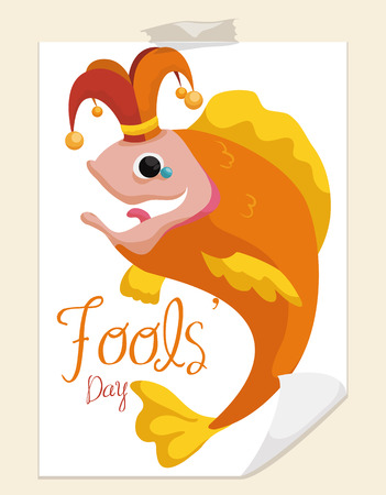 pranks: Funny fish like harlequin for April Fools Day print in a paper and ready for pranks to his friends.