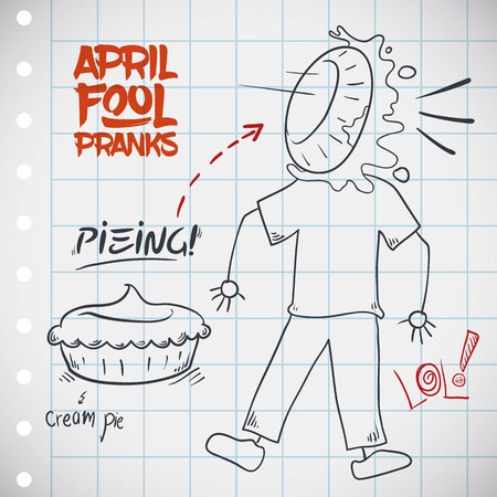 innocent: Traditional pieing jape for April Fools Day with a creamy pie in the face of a innocent pranked. Illustration