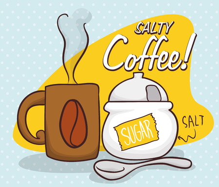 prank: Classic scene of salty coffee prank for April Fools Day with a coffee mug, spoon and a fake sugar bowl. Illustration