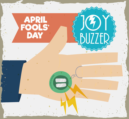 buzzer: Hand with joy buzzer ready to a prank everyone in April Fools Day, in retro style poster.