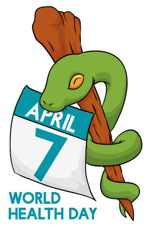 Asclepius snake biting a loose leaf calendar in commemoration for World Health Day. Illustration